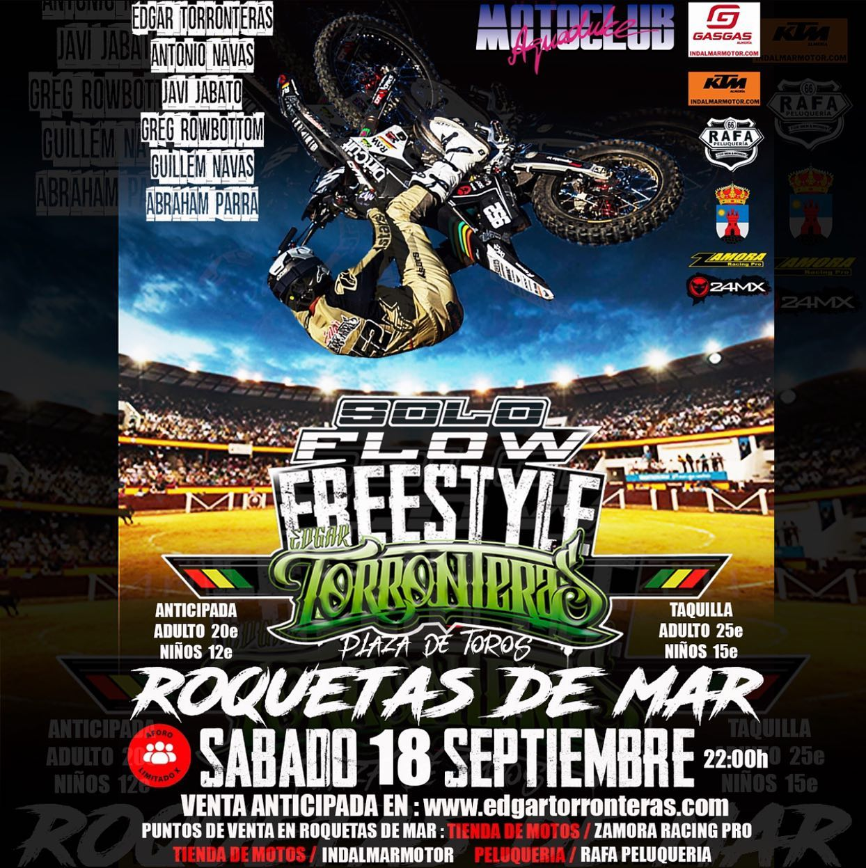 El pasado 18 de septiembre se realizó el espectáculo Solo flow freestyle de motos en Roquetas